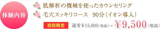 体験内容 肌解析の機械を使ったカウンセリング フェイシャルトリートメント(90分) 通常¥19,440(税抜)が¥5,400(税抜)